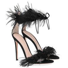 Туфли женские на высоком каблуке с перьями 2019