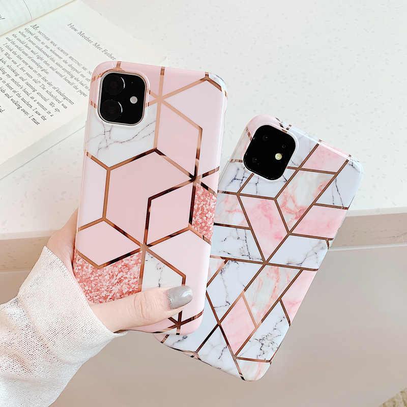 N1986N funda para teléfono para iPhone 11 11 Pro Max X XR XS Max 6 6s 7 8 Plus mármol de lujo galvanizado brillante IMD para iPhone 11