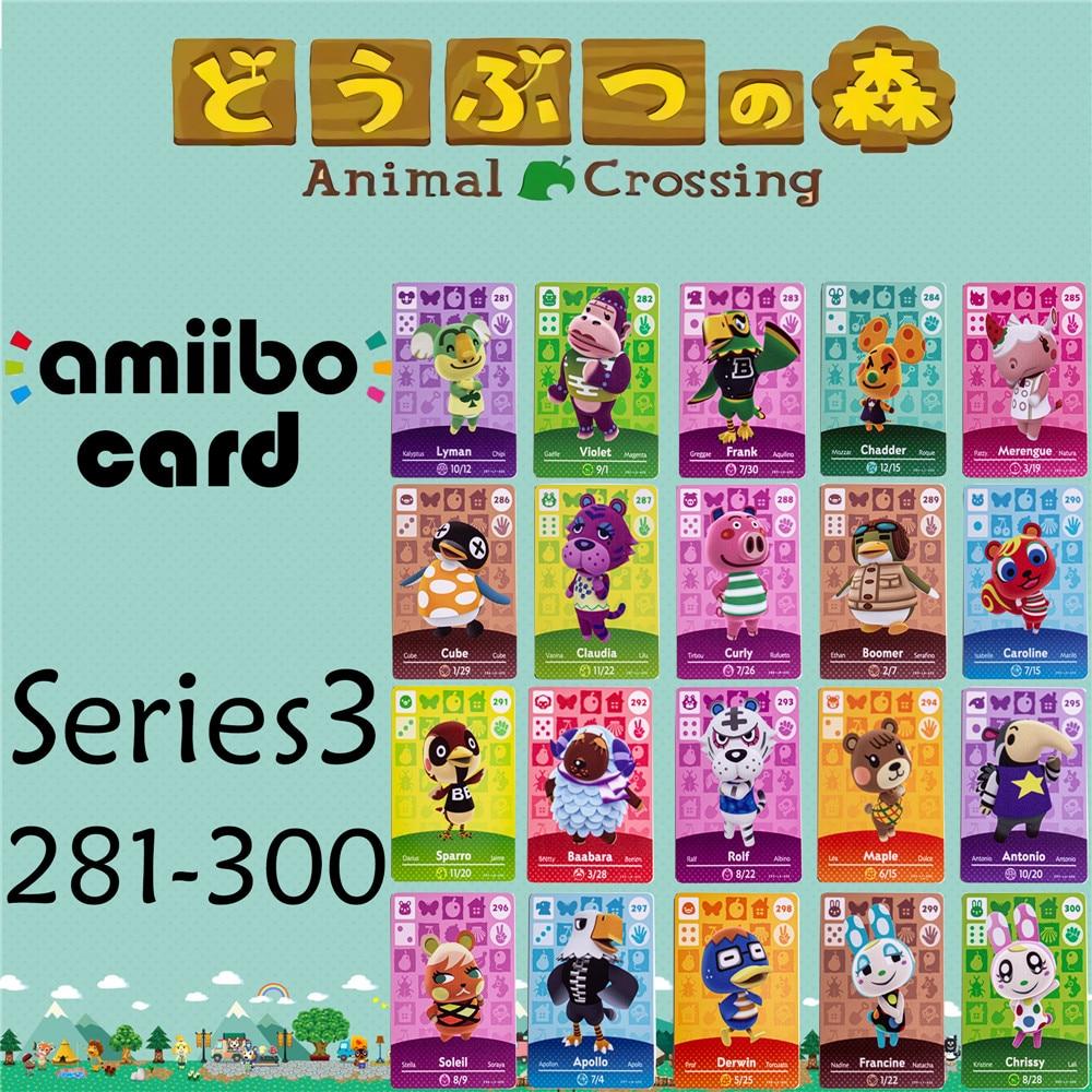 Пересечение животных подлинных данных новые горизонты игры Марио карты для NS переключатель 3DS игра набор NFC-карты выводятся в ряд series3 281-300 матовый материал