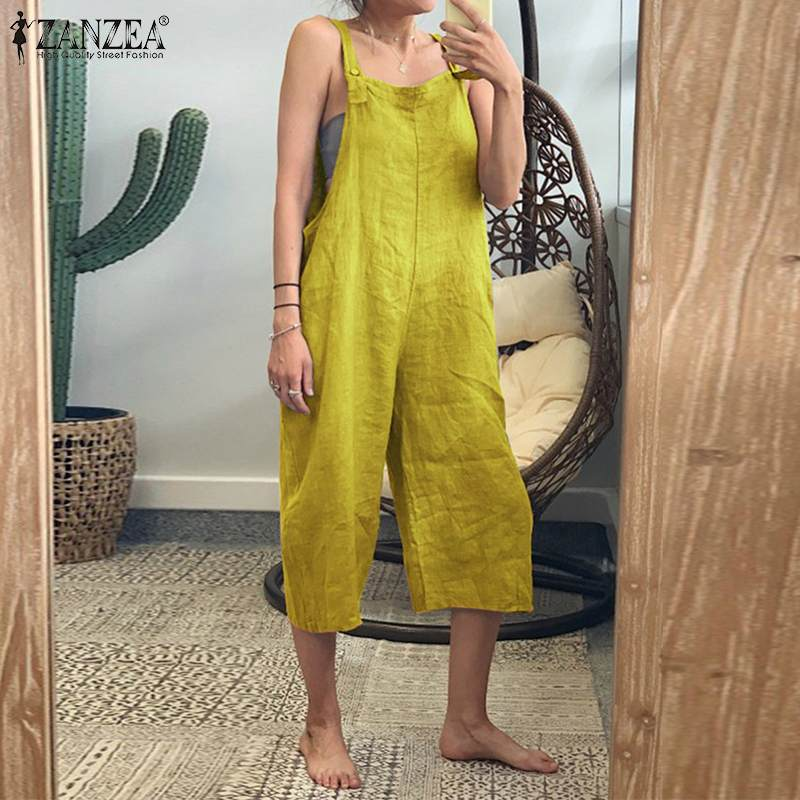 ZANZEA Women Jumpsuits Summer Cotton Linen Overalls Vintage Solid Rompers Casual Straps Solid Wide Leg Pants Loose Playsuits 5xl