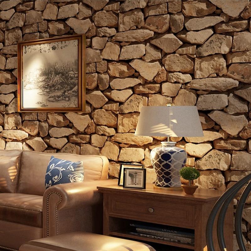 Vintage 4D pierre papier peint décoration de la maison salon chambre salle à manger fond mur vinyle 3D étanche PVC papier peint - 2