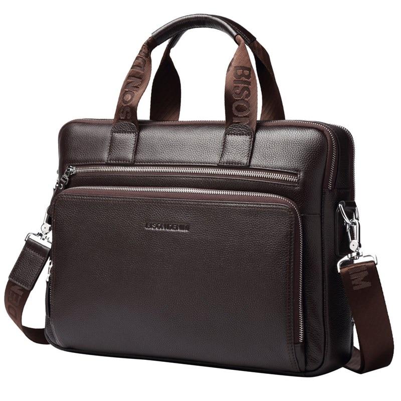 Leather Business Bag For Men 14 Laptop Handbag Messenger Shoulder Bags