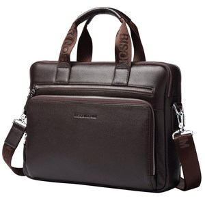 "Image 5 - BISON DENIM Men Bag Genuine Leather Briefcases14"" Laptop Bag Mens Business Crossbody Bag Messenger/Shoulder Bag For Man N2333 3"