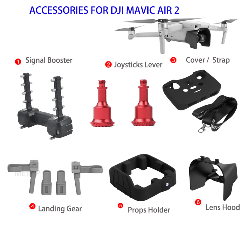 Landing Gear Lens Hood Props Holder Joysticks Lever Protective Cover with Controller Strap For DJI Mavic Air 2 Drone Accessories