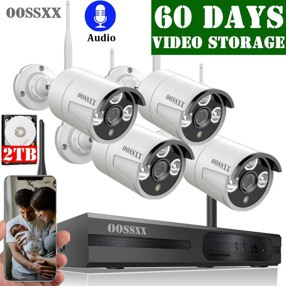 OOSSXX 8CH Wireless 1080P NVR Security Camera System 4pcs 2MP Audio Record HD Outdoor CCTV Wireless IP67 Camera Video Surveillan