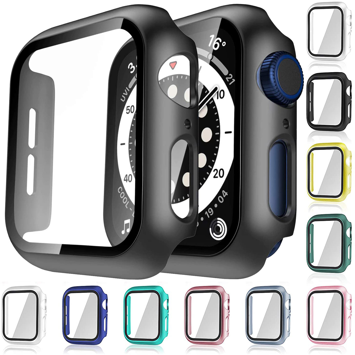 Glass+Case For Apple Watch Serie 6 5 4 3 2 1 SE 44mm 40mm iWatch Case 42mm 38mm Bumper Screen Protector+Cover Watch Accessorie