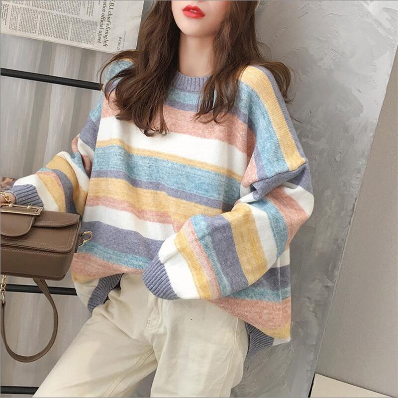 Rainbow Striped Sweater Women Loose Long Raglan Sleeve Knit 2019 New Autumn And Winter Office Lady