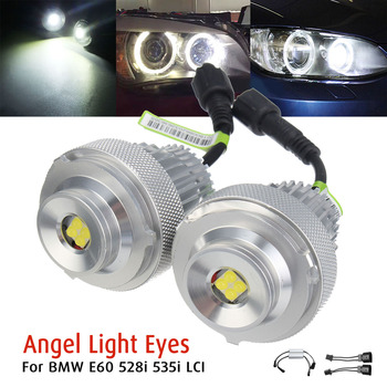 2Pcs 20W White LED Angel Eyes Halo Light Bulbs For BMW E60 528i 535i LCI Super Brightness Lasting Life Car Lights Accessories image