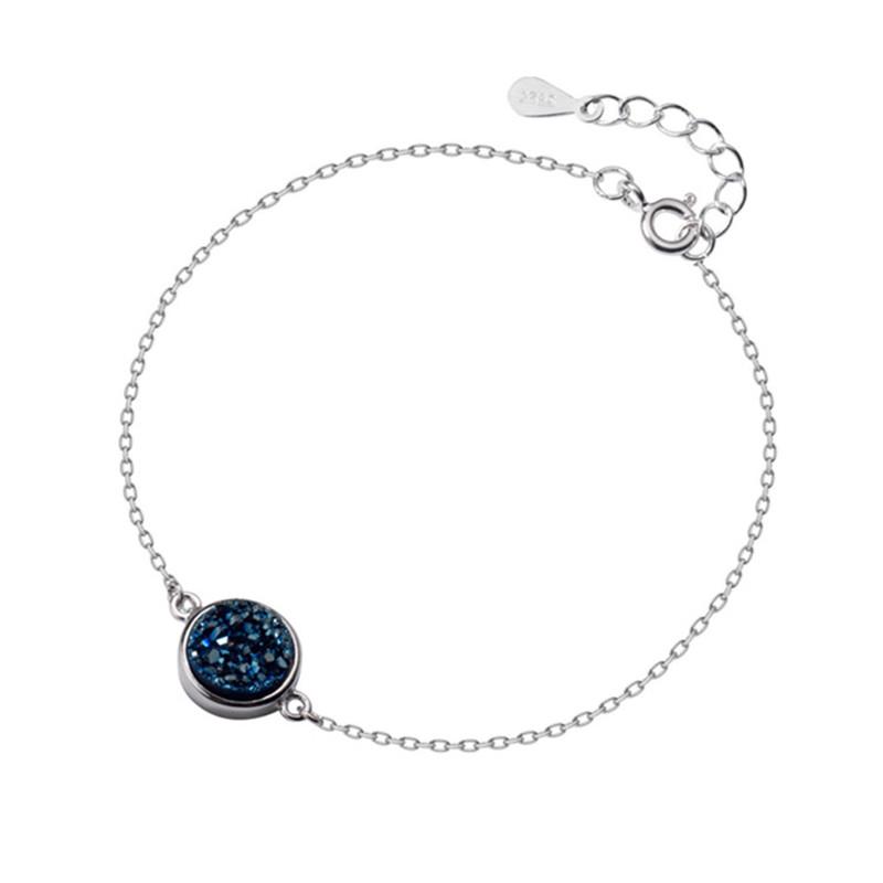 Minimalist Druzy Stone Kyanite Bracelet Real 925 Sterling Silver Personality Accessories For Women Fine Jewelry Gift