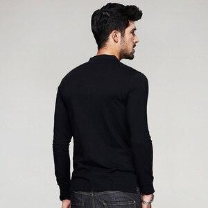 Image 4 - KUEGOU 2020 סתיו כפתור כותנה רגיל לבן T חולצה גברים חולצת טי מותג חולצה ארוך שרוול טי חולצה מזדמן בגדים בתוספת גודל 765