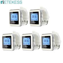RETEKESS 5 sztuk zegarek odbiornik bezprzewodowy System wywołujący kelner zadzwoń Pager wyposażenie restauracji Catering obsługa klienta F3288B