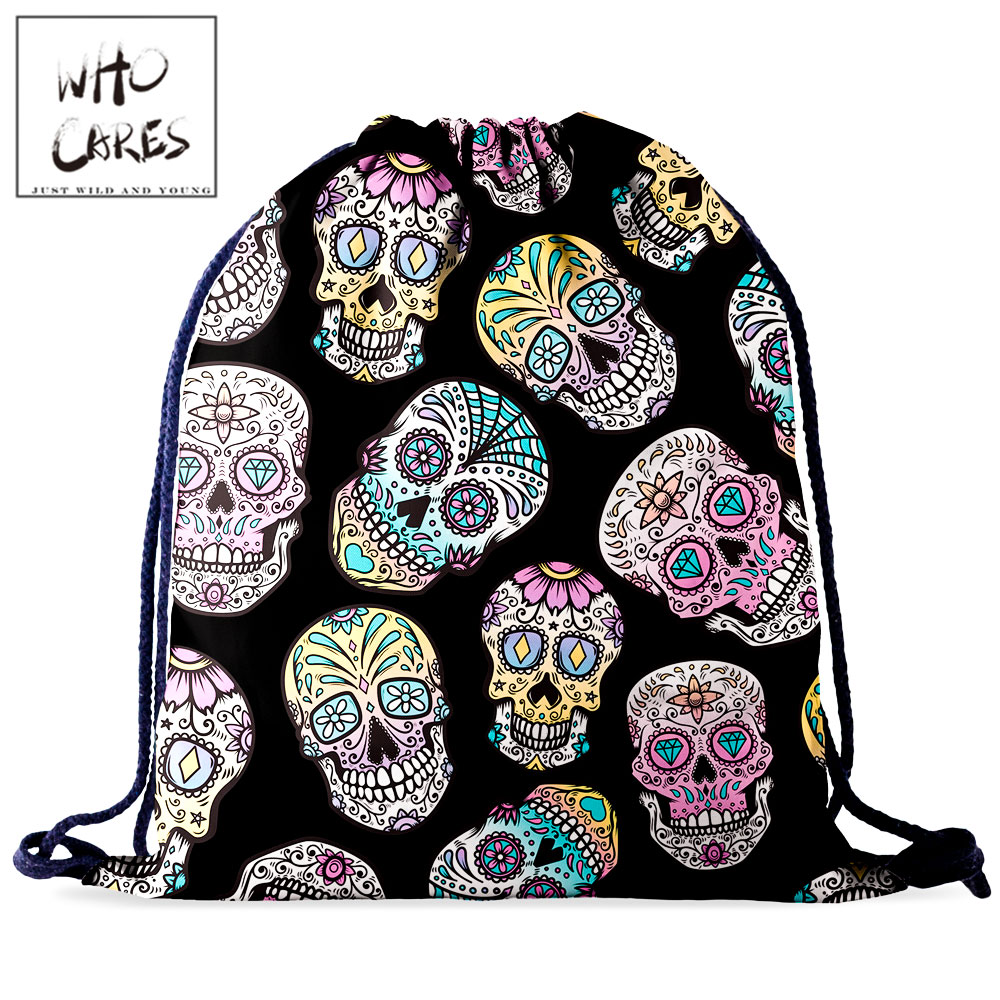 Who Cares Women Drawstring Bag Gym Rucksack Backpack For Girl Fashion Skull 3D Printing Portable Waterproof Travel Bag