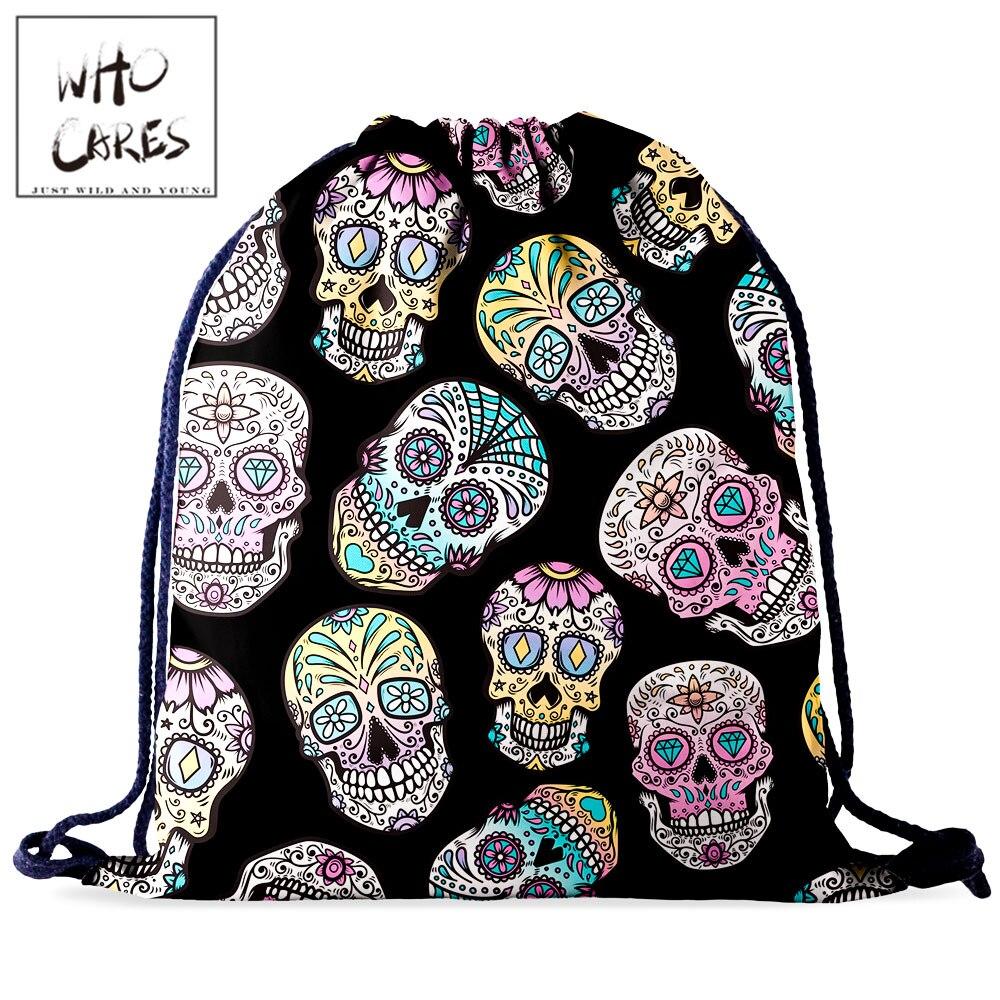 Who Cares Women Drawstring Bag Gym Rucksack Backpack For Girl Fashion Skull 3D Printing Portable Waterproof Travel Bag