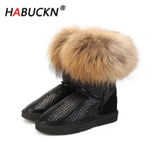 HABUCKN new High Quality Women Natural Real Fox Fur Snow Boots Genuine Leather Fashion Women Boots Warm Female Winter Shoes Warm 100% natural fur women boots winter warm shoes genuine sheepskin snow boots warm wool women ankle boots