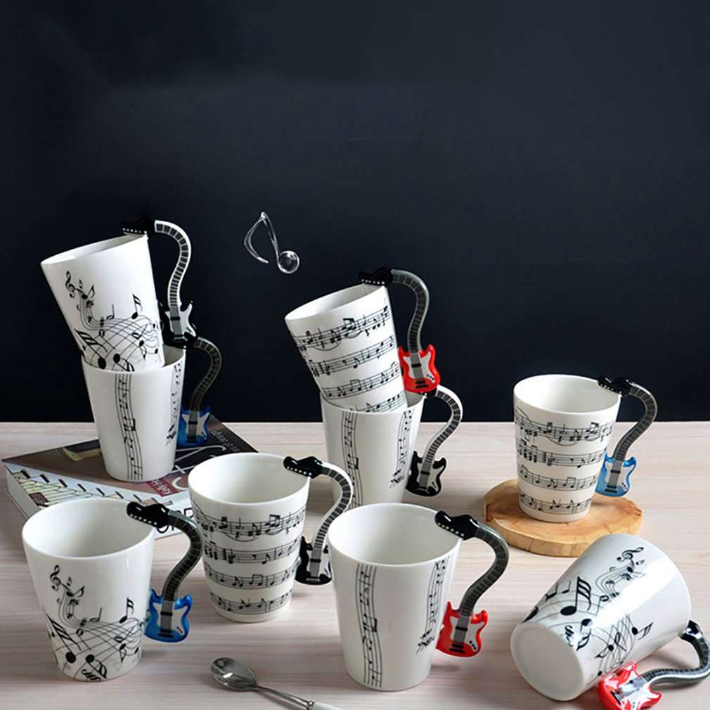 Ceramic Mug Handle-Cup Coffee Christmas-Gift Guitar/violin-Shape Home Office Drinkware title=
