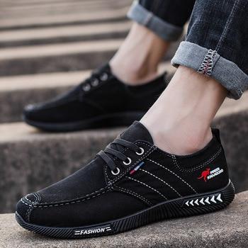 Men shoes 2021 spring men canvas shoes flat casual shoes lace up comfortable breathable shoes man flats size 39-44 5