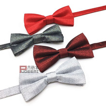 Korean version of mens silver silk show bow tie fashion wedding birthday party business host