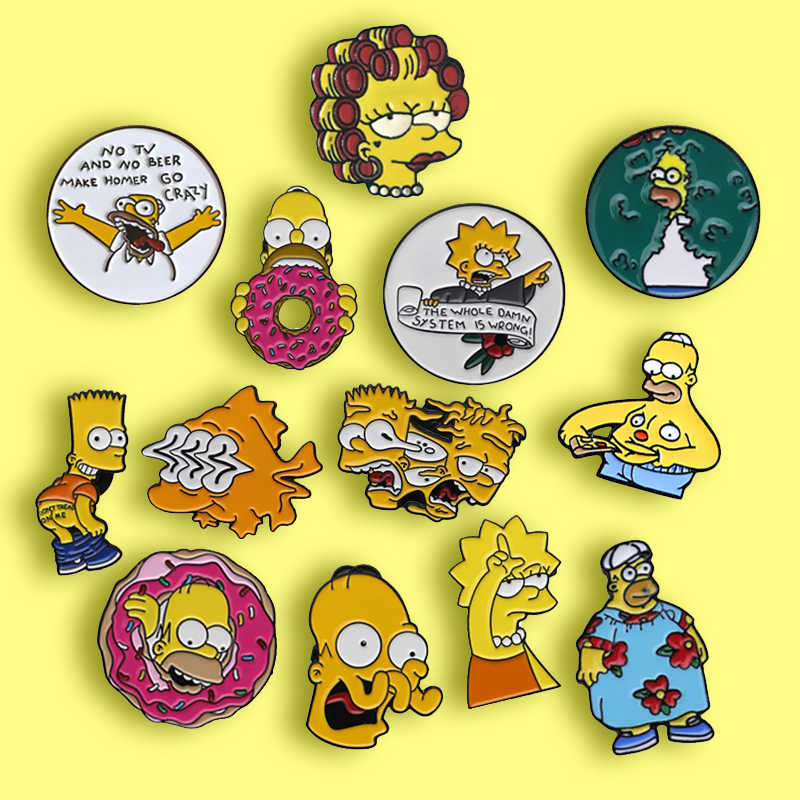 Simp-La Famiglia Figlio Spilli Spilla The Simpsons Mr Burns Bart Simpson Marge Simpson Risvolto Spille Monili Del Fumetto per Il Capretto amico Regalo
