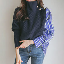 Vrouwen Coltrui Chunky Oversized Trui Koreaanse Patchwork Knit Truien Trui En Jumper 2020 Herfst Winter Gebreide Top(China)