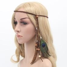 Indian Feather Headdress Hair Accessories Womens Hippie Adjustable Headwear Boho Peacock Band DIY New Arrive