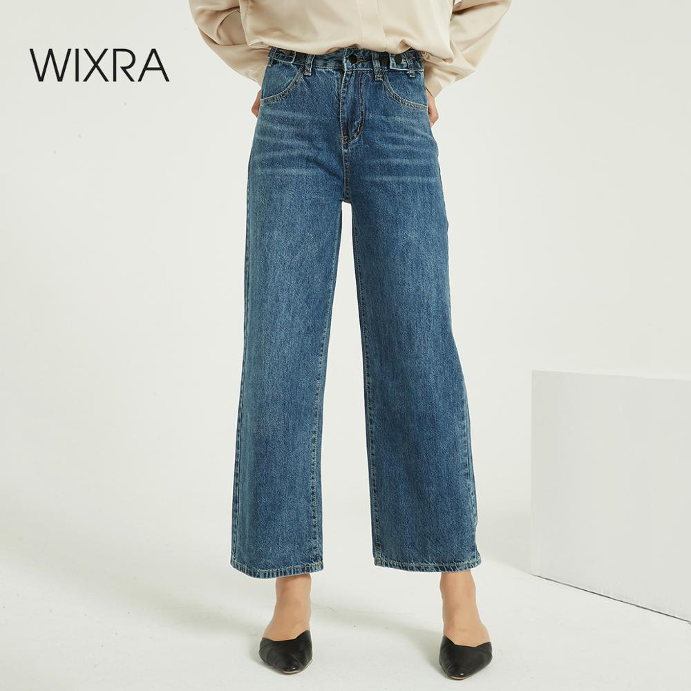 Wixra Loose Vintage Women Jeans High Waist Pockets Boyfriend Wide Leg Casual Denim Trousers 2020 Spring Autumn