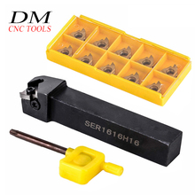 1pcs SER1616H16 External Threading Turning Tool CNC Lathe Cutting Tool+10pcs 16ER AG60 Carbide Inserts 10pcs 16er ag60 inserts mayitr ser1616h16 and ser1212h16 lathe turning tool holder with wrenches