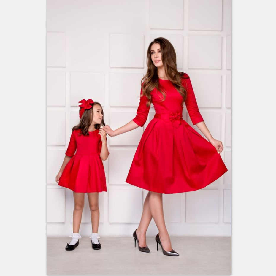 New Hot Spring Europe and the United States slim pure color silk silk wrinkled bow parent-child dress dress
