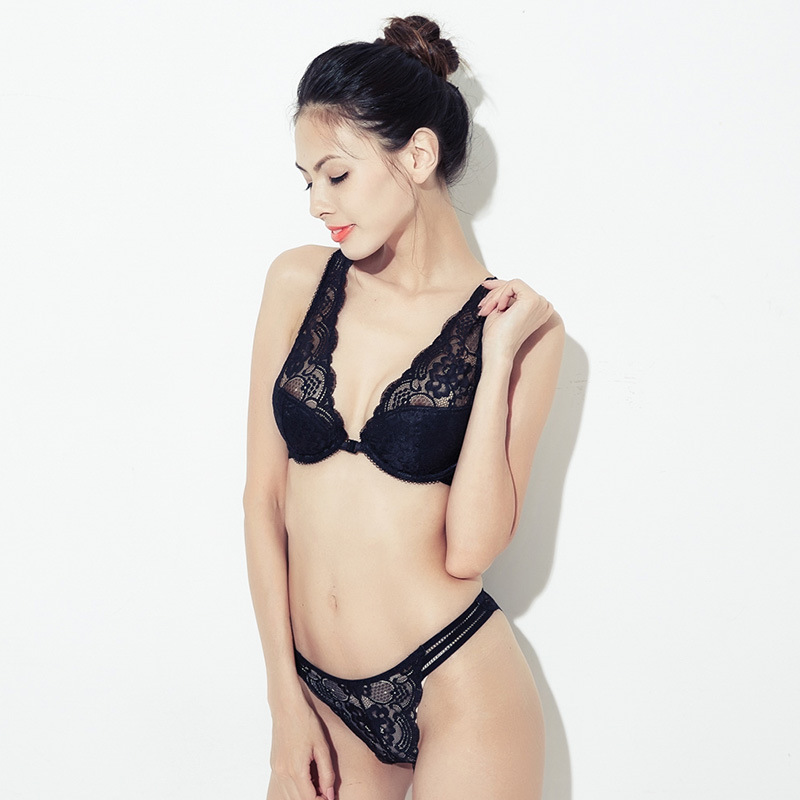 KL Autumn New Products Deep-V Lace Water Droplet Thin Mould Cup <font><b>Bra</b></font> <font><b>Set</b></font> <font><b>Front</b></font> <font><b>Buckle</b></font> Beauty Back Underwear <font><b>Bra</b></font> image