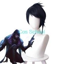 Cos okul Aphelios peruk LOL League of Legends Aphelios Cosplay peruk mavi kısa saç + peruk kap cadılar bayramı oyunu oyna peruk