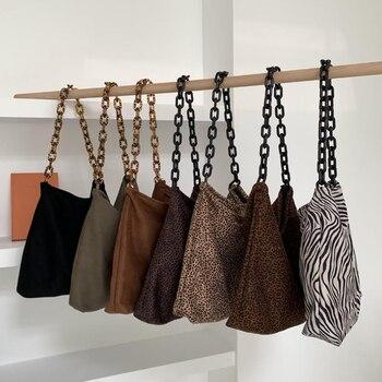 New Casual Leopard Print Middle Women Handbag Faux Suede Zebra Ladies Shoulder Bag Female Acrylic Strap Zipper Crossbody