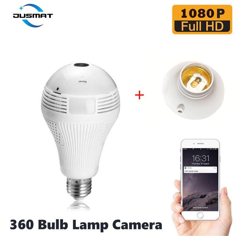 Smart Camera Webcam 1080P WiFi  360 degree light bulb lamp camera infrared E27 security surveillance indoor monitor-in Surveillance Cameras from Security & Protection