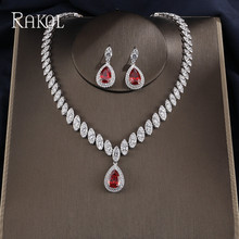 RAKOL collier de luxe en Zircon cubique, boucles doreilles, ensemble de mariée en cristal brillant, bijoux pour robe de mariée pour femmes, dubaï