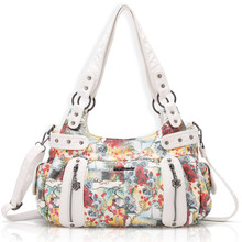 Angel Barcelo Brand New PU Leather Handbags for Women with Beautiful Flower Printing AK19244-3