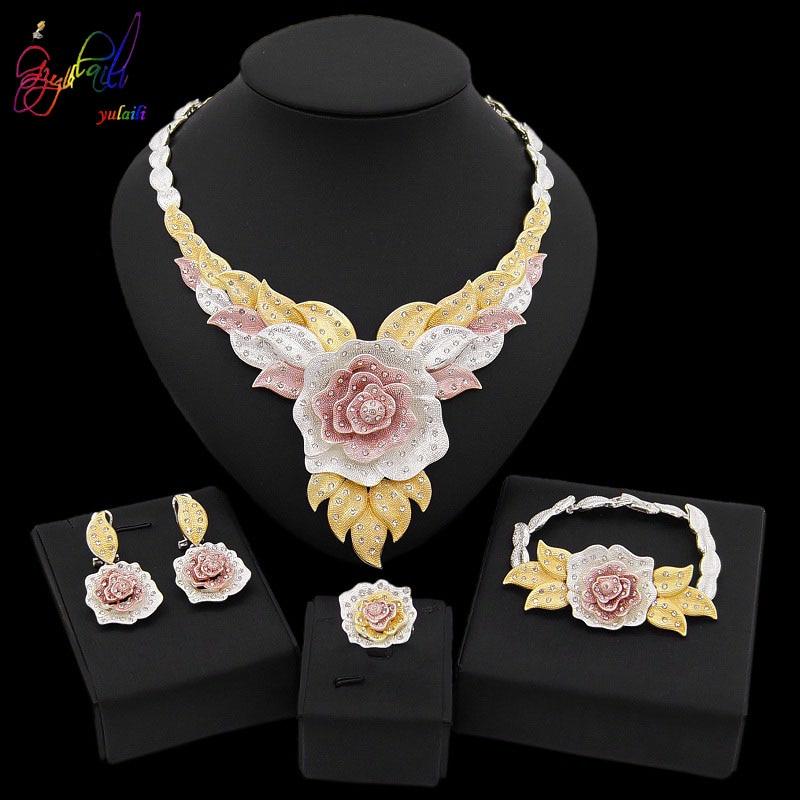Yulaili New Dubai Jewelry Sets Austria Crystal Tri color Big  Flower Pendant Necklace Earrings Nigeria Wedding African BijouxJewelry  Sets