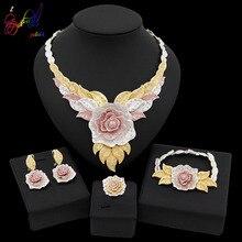 Yulaili New Dubai Jewelry Sets Austria Crystal Tri-color Big Flower Pendant Necklace Earrings Nigeria Wedding African Bijoux