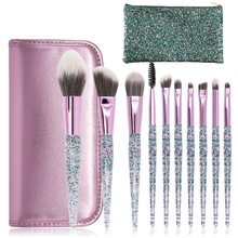 10 crystal handle makeup brush PU package sequins crystal quicksand makeup rinse set eye shadow brush