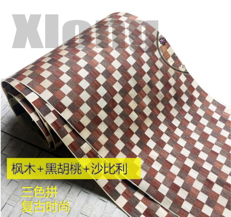 1Piece  2.5Meter Width:40cm Three Color Spliced Wood Veneer Skin
