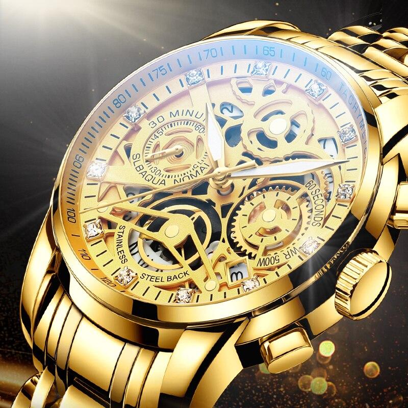 NEKTOM 2020 Men Watches Luxury Top Brand Gold Watch Stainless Steel Big Male Wristwatch Yellow Quartz Sports Watches for Man