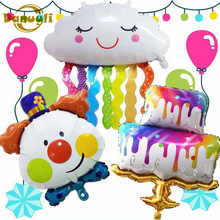 Carnival cake balloons smile rainbow tassel cloud colorful birthday cake balloons combination children party Baby showe