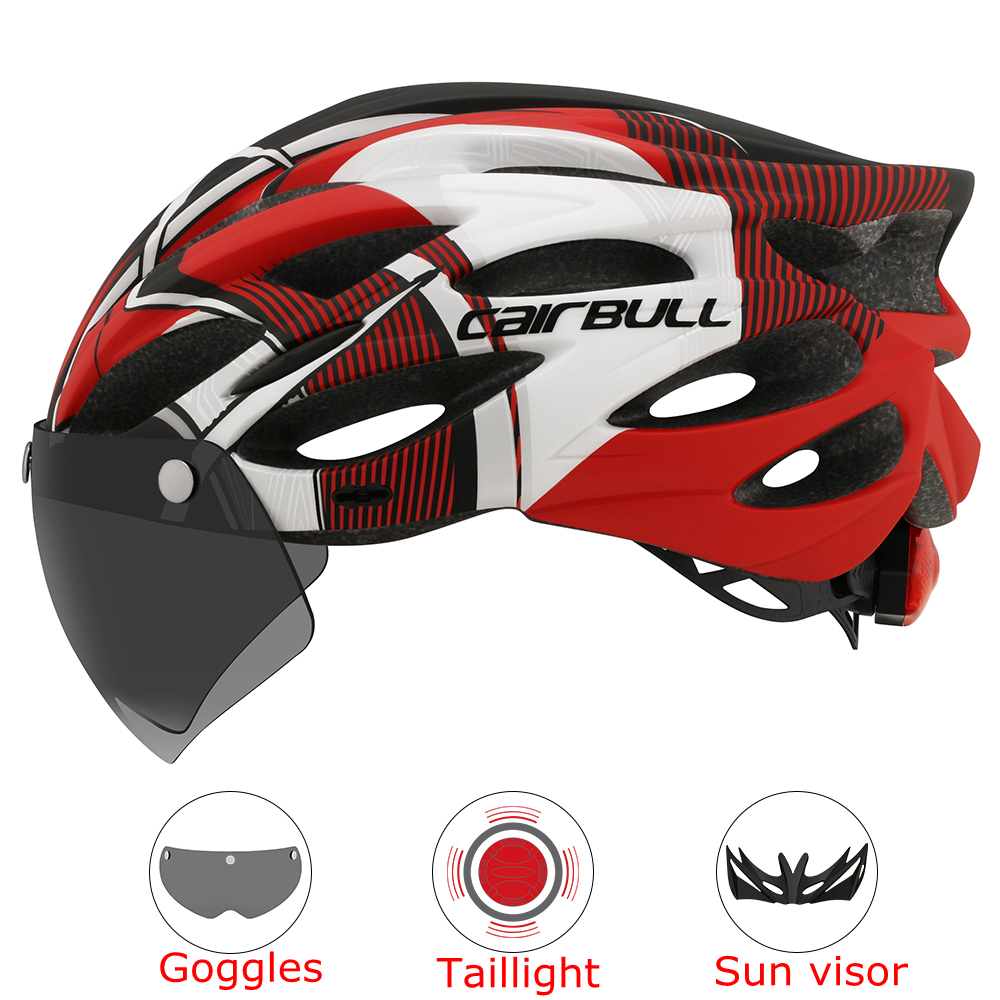 Intergrally-molded Mountain Bike Helmet with Removable Goggles Visor Adjustable Men Women Bicycle Cycling Taillight Helmet