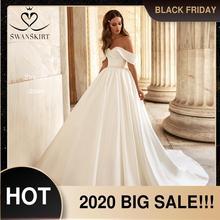 Vestido de noiva simples querida cetim vestido de casamento fora do ombro vestido de noiva moda cinto cristal princesa swanskirt uz28
