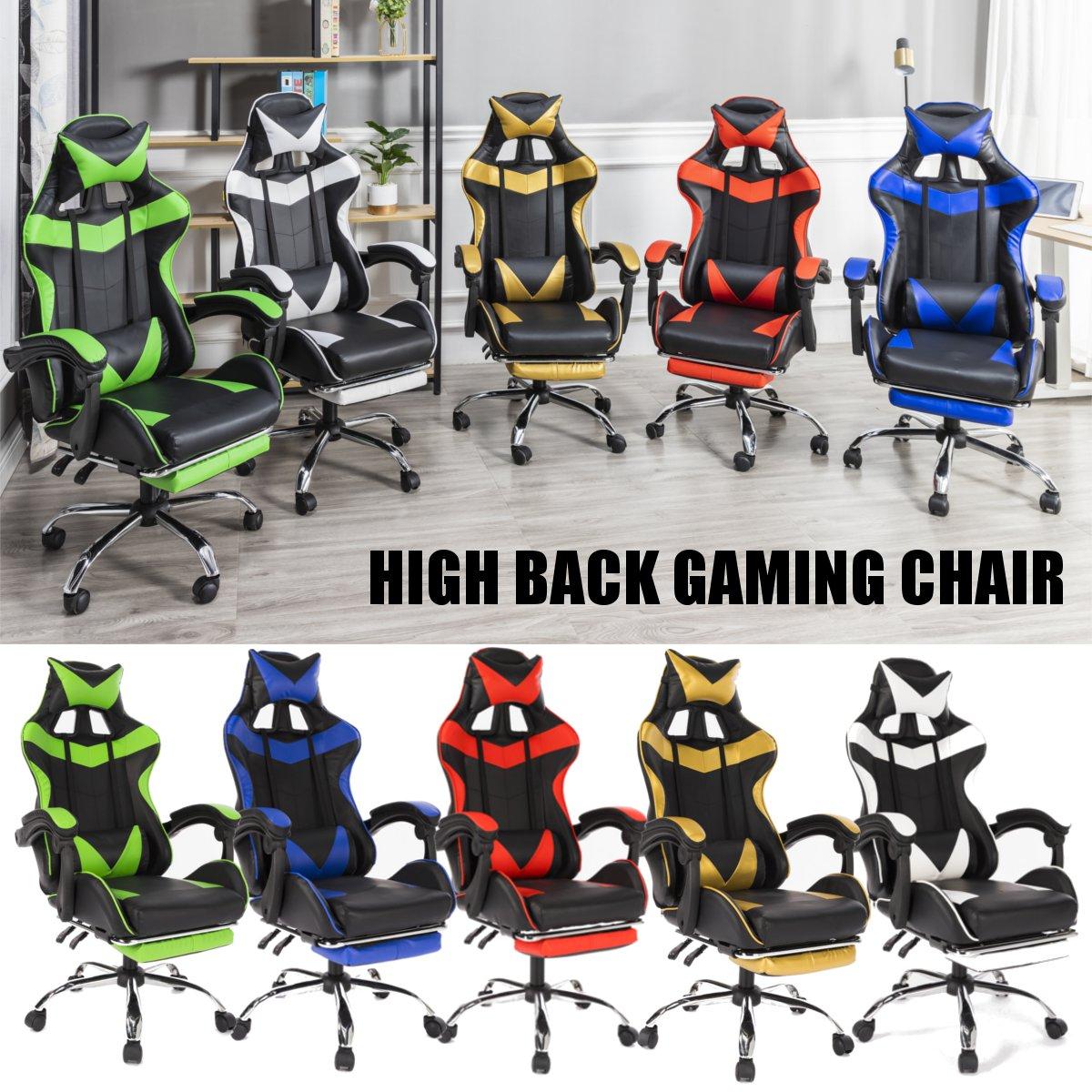 5 цветов, игровой стул из искусственной кожи для гонок, офисный высокий задник, эргономичный кресло с подставкой для ног, профессиональный к...