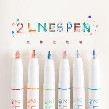 6 pçs/set criativo linha de duas cores gel caneta arte desenho graffiti caneta estudante marcador de leitura diário diy artigos de papelaria suprimentos