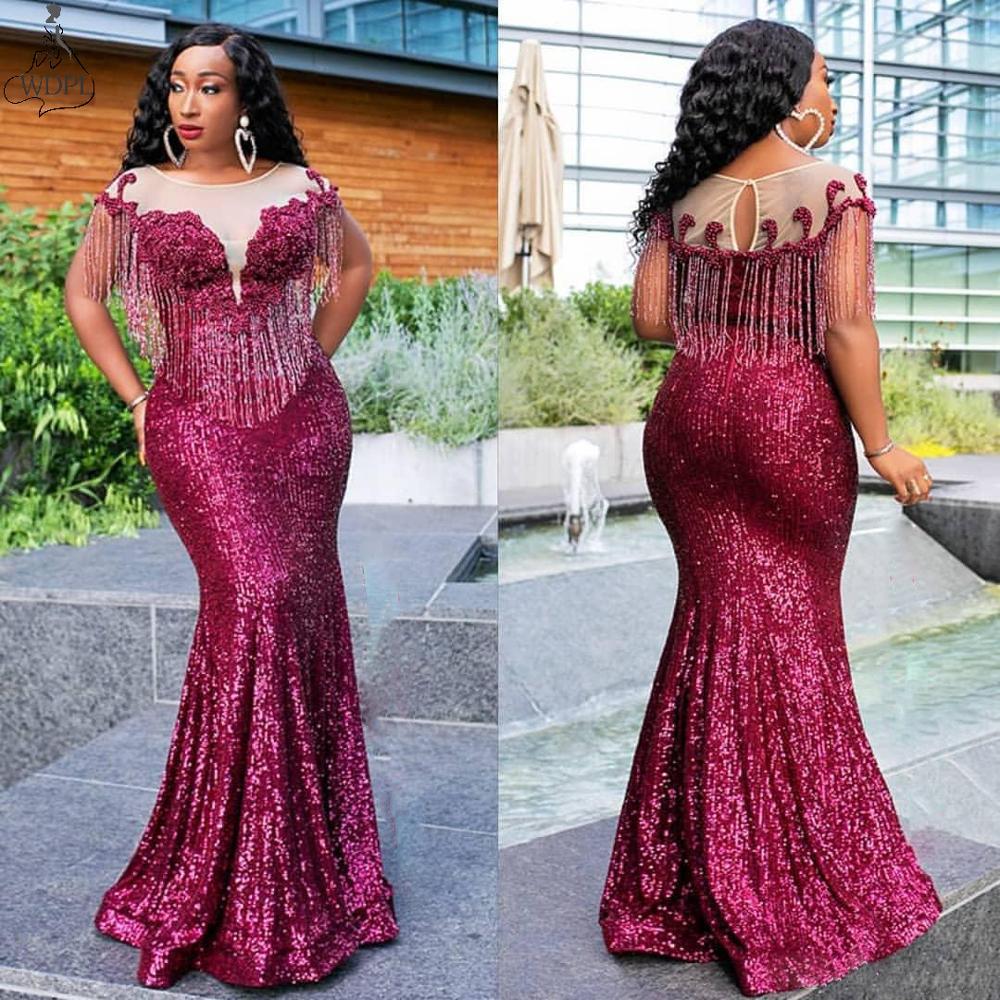 2019 Aso Ebi Arabic Burgundy Sparkly Sequins Evening Dress Sheer Neck Beads Mermaid Prom Dresses Tassel Plus Size Robe De Soiree