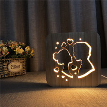 sweetheart 3D solid Wooden Sweetheart LED nightlight lover warm USB plug desk Wood pine Night Light Hollowed-out table Lamp