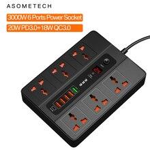 6 포트 20W PD QC3.0 USB 고속 충전기 유형 C 빠른 충전 스테이션 어댑터 3000W 6 AC 콘센트 iPhone 12 용 전원 스트립 Samsung