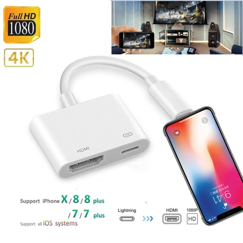 4k 1080p para iphone a hdmi vga adaptador de áudio para iphon ipad ipod digital av adaptador conversor para iphone x/11/8p/6s/7p/ipad ar