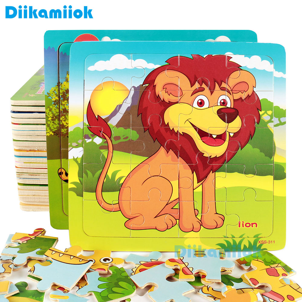 Hot Sale 20 Slice Lion Animal Puzzle Wooden Small Piece Kids Toy Wood Jigsaw Puzzles Baby Educational Learning Toys For Children