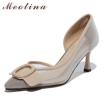 Meotina High Heels Women Pumps Natural Genuine Leather Thin High Heels Shoes Mesh Cutout Buckle Pointed Toe Shoes Ladies Size 39