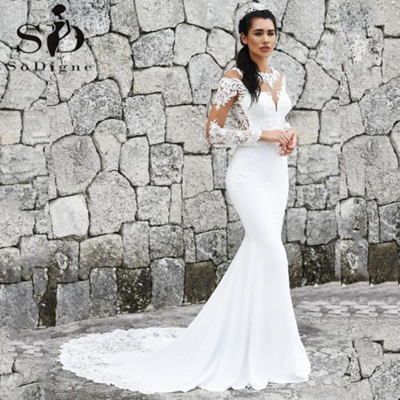 Sexy Boho Wedding Dress 2019 Illusion Button Back Lace Appliques Long Sleeve Mermaid Wedding Dresses Bridal Gown
